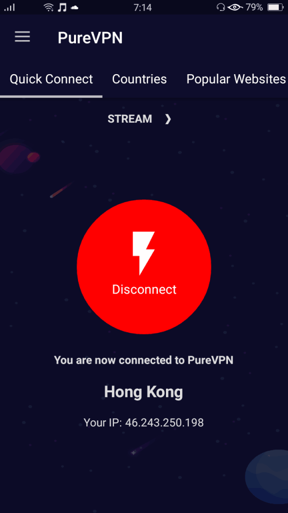 After IP address displayed on connected screen (Android)