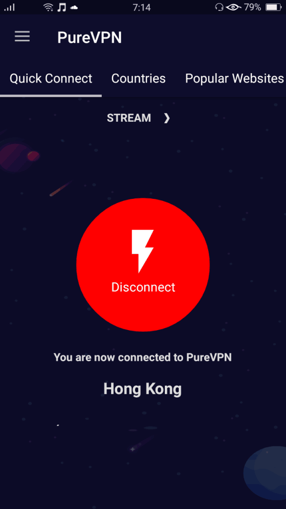 Before IP address displayed on connected screen (Android)